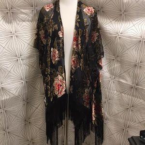 Mesh Kimono with Velvet Flower Pattern